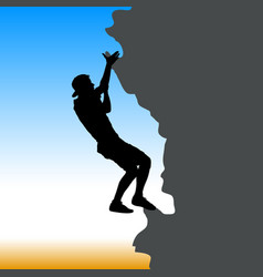 black silhouette rock climber on against the blue vector image