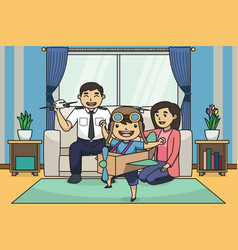boy playing with his airplane toy children book vector image