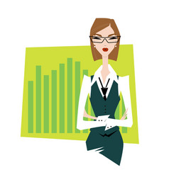Business woman pointing to business trends vector