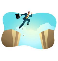 businessman silhouette jump ravine vector image