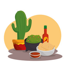 cactus plant with mexican food to celebration vector image