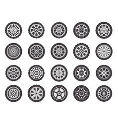 car wheel rims automobile vehicle rubber wheel vector image
