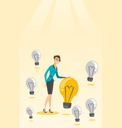 Caucasian business woman having business idea vector