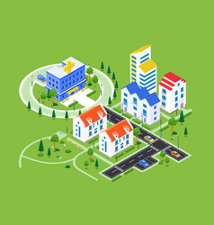 City district - modern colorful isometric vector