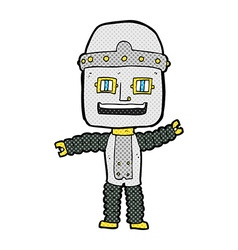 Comic cartoon waving robot vector