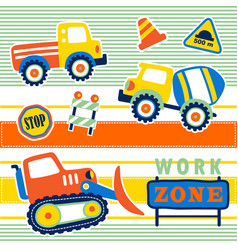 Construction vehicles with construction signs vector