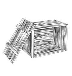 Crates open wooden box parcel hand drawn vector