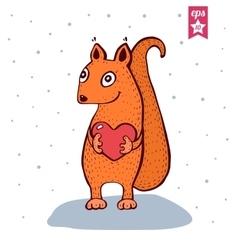 Cute basquirrel with heart in hands vector