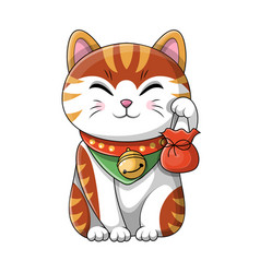 cute cartoon cat wearing a bell around its neck vector image