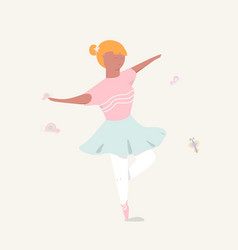 cute girl ballerina dancing vector image