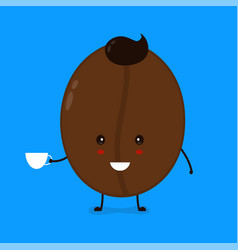 cute happy smiling coffee bean with coffee vector image
