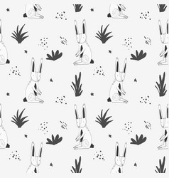 Cute pattern with cartoon rabbits and grass vector