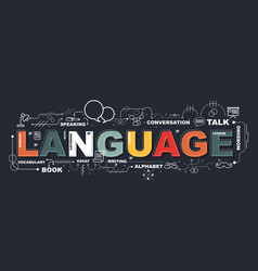 design concept of word language website banner vector image
