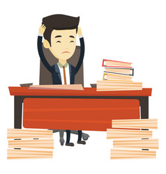 Despair business man working in office vector