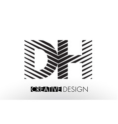 Dh d h lines letter design with creative elegant vector