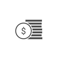 dollar coins stack icon vector image