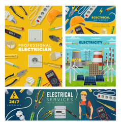 Electrician and electrical tools power industry vector
