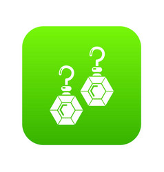 emerald earrings icon green vector image