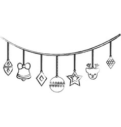 figure differents balls hanging to christmas vector image