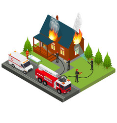 Firefighters extinguish fire at house isometric vector