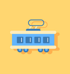 Flat icon design collection tram silhouette vector