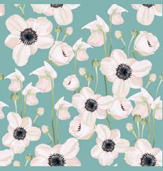 Garden powder white pink anemone flower vector