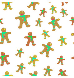 Gingerbread man decorated icing seamless pattern vector
