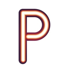 Glowing neon letter P vector image