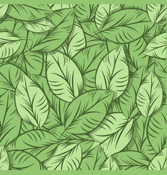 green organic leaves seamless pattern vector image