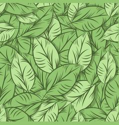 Green organic leaves seamless pattern vector