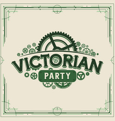 green steampunk party logotype design victorian vector image
