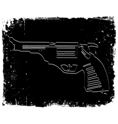 Gun on black grunge background vector image