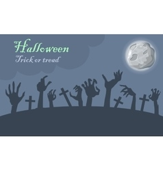 Halloween trick or treat zombie hands appear vector