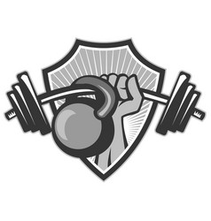 hand lifting barbell kettlebell crest grayscale vector image