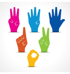 Hands make number one to five vector