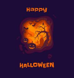 happy halloween poster pumpkin lantern and vector image