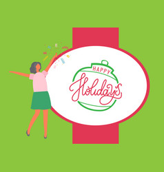 happy holidays poster woman in skirt and sweater vector image