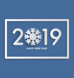 happy new year 2019 text design with snowflake vector image