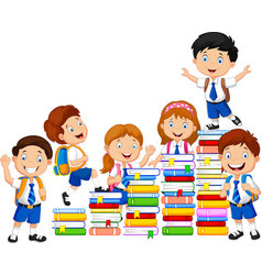 happy schoolkids playing with stack of book vector image