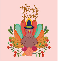 happy thanksgiving day turkey flowers fruit vector image
