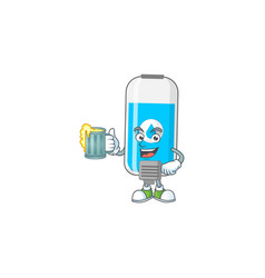Happy wall hand sanitizer toast with glass beer vector