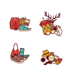 hipster doodle icons vector image