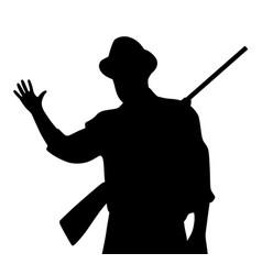 hunter with rilfe waving hand greeting vector image