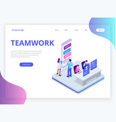 isometric business teamwork concept business vector image