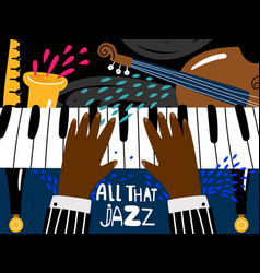 Jazz piano poster blues and jazz rhythm musical vector