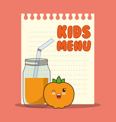 Kids menu paper glass jar juice vector