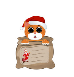 Kitten in a bag and on it is depicted santa and vector