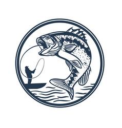 largemouth bass fishing man in lake bass vector image