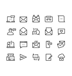 message line icons email and text communication vector image