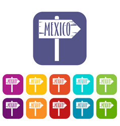 Mexico wooden direction arrow sign icons set flat vector